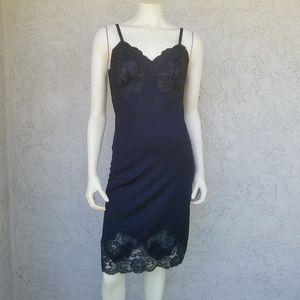 Kayser Vtg Black Satin & Lace Fitted Slip Dress